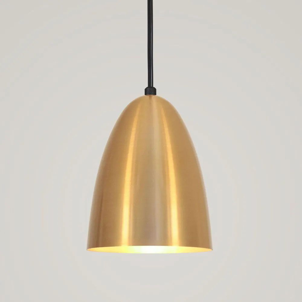 Kit 3 Luminária Pendente Bala 16x13cm Dourado