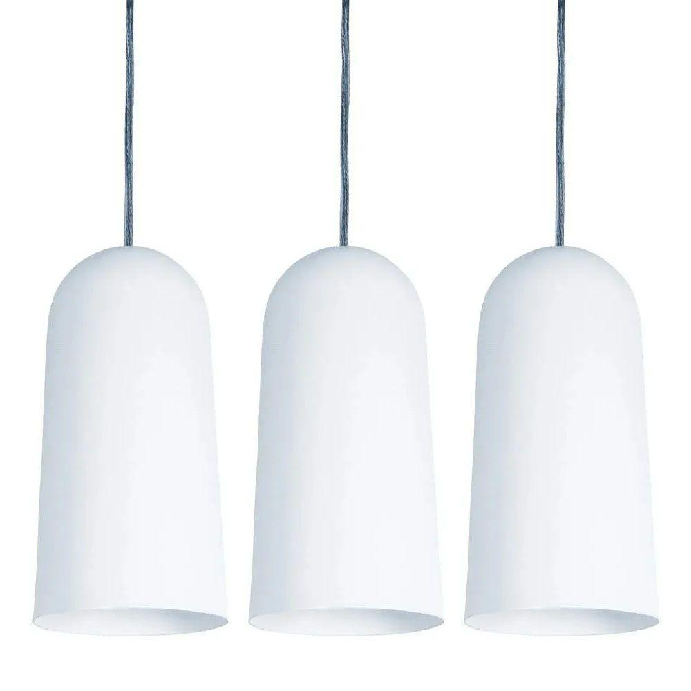 Kit 3 Luminária Pendente Cilíndrico 33x15cm Aluminium Branco