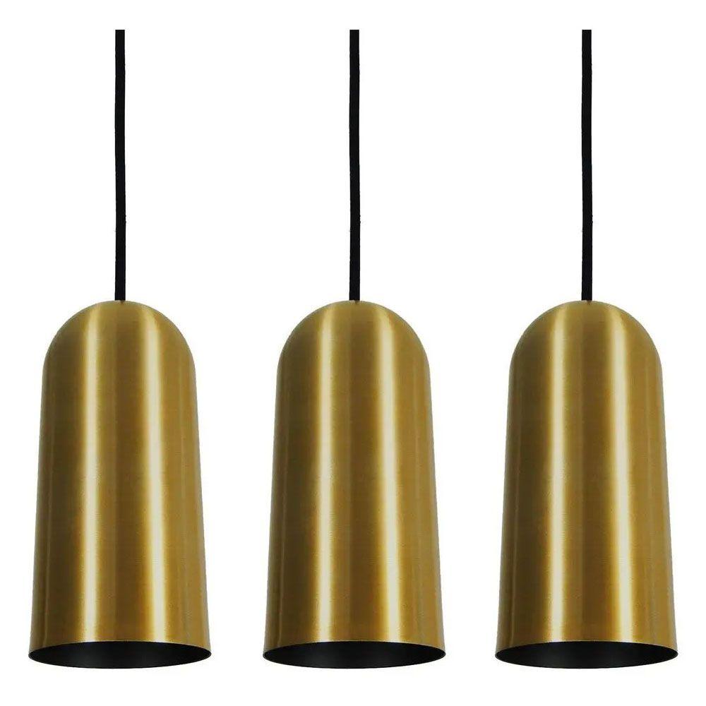 Kit 3 Luminária Pendente Cilíndrico 33x15cm Aluminio Dourado