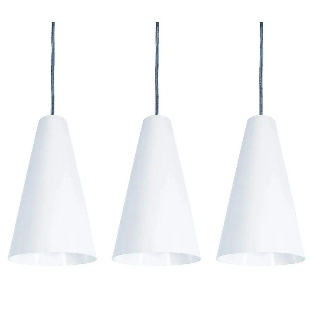 Kit 3 Luminária Pendente Cônico 25x14cm Aluminium Branco