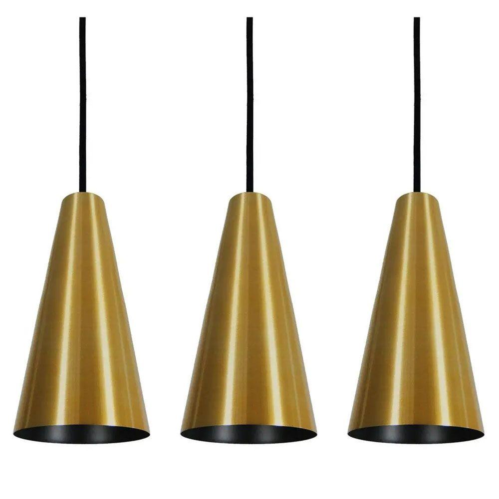 Kit 3 Luminária Pendente Cônico 25x14cm Aluminium Dourado - TKS