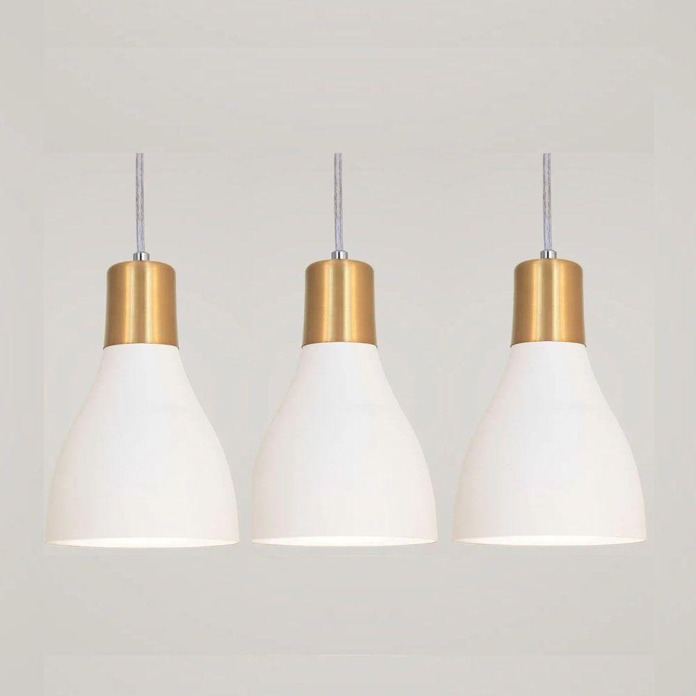 Kit 3 Luminária Pendente Garrafa 20x13.5cm Branco e Dourado
