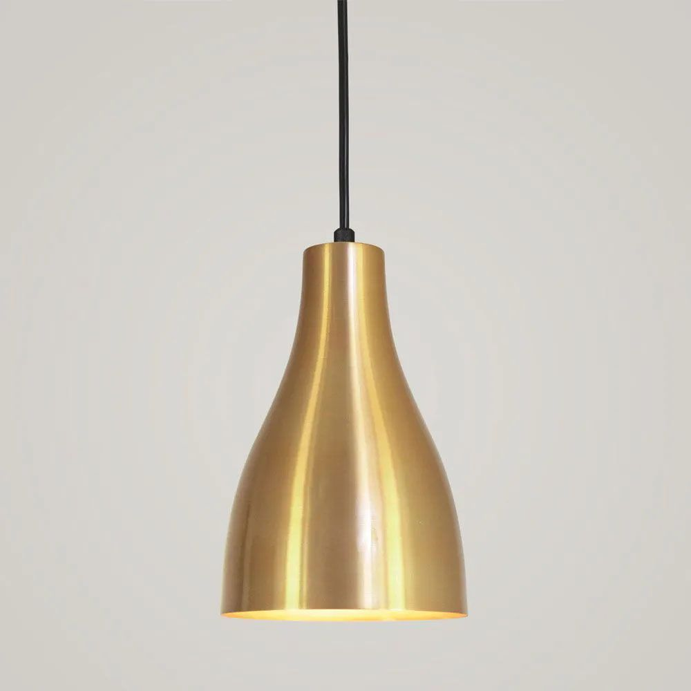Kit 3 Luminária Pendente Garrafa 20x13.5cm Dourado