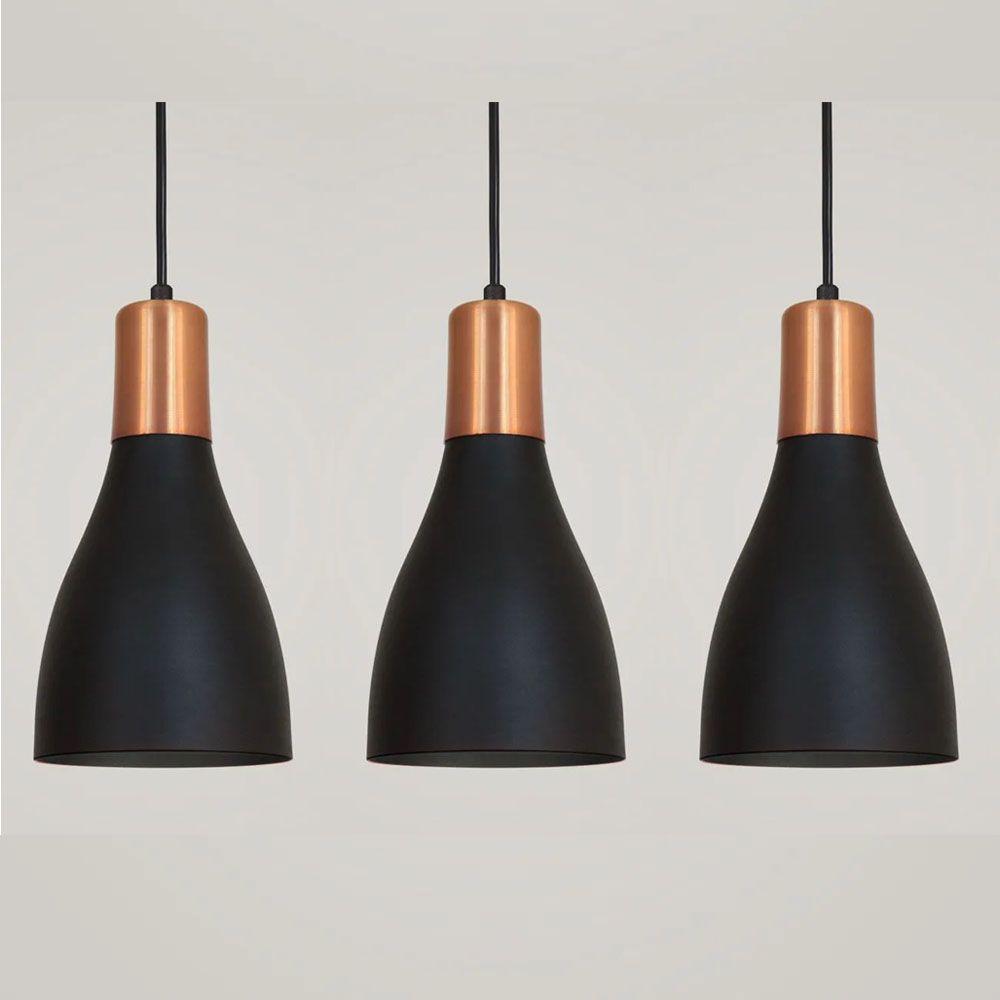 Kit 3 Luminária Pendente Garrafa 20x13.5cm Preto com Cobre