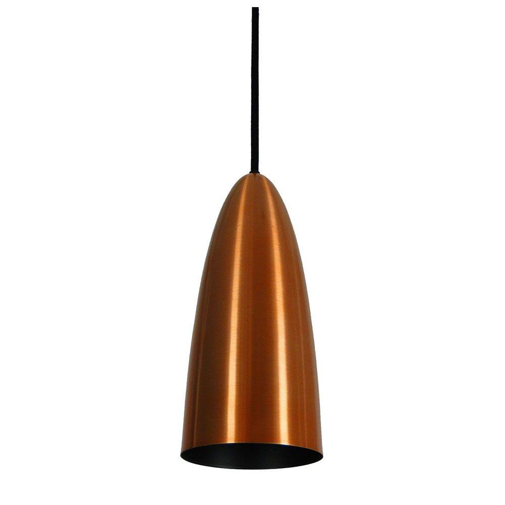 Kit 3 Luminária Pendente Oval 29x13cm Aluminium Cobre
