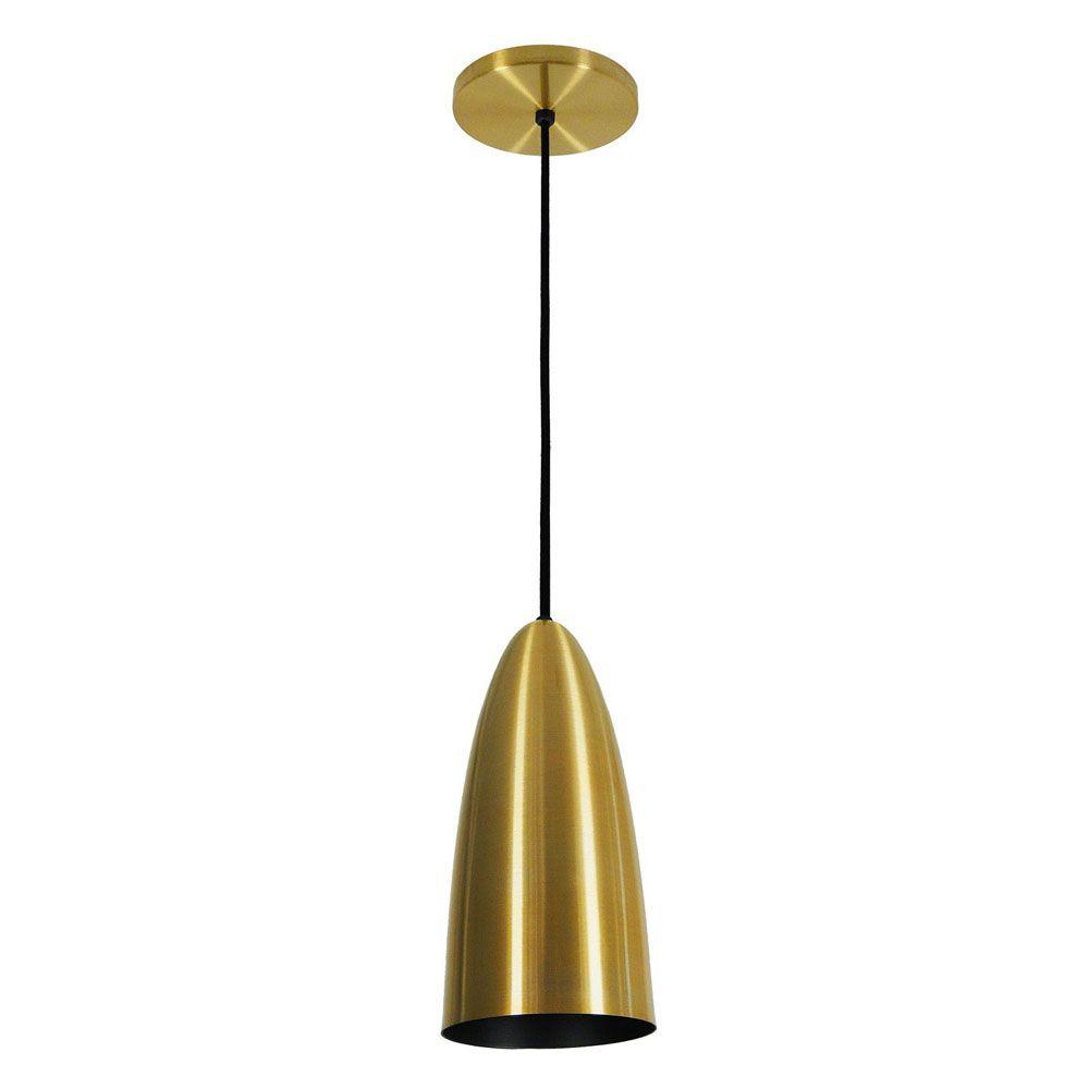 Kit 3 Luminária Pendente Oval 29x13cm Aluminium Dourado - TKS