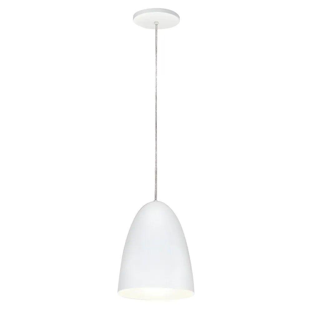 Kit 3 Luminária Pendente Oval 24x18.5cm Aluminium Branco - TKS
