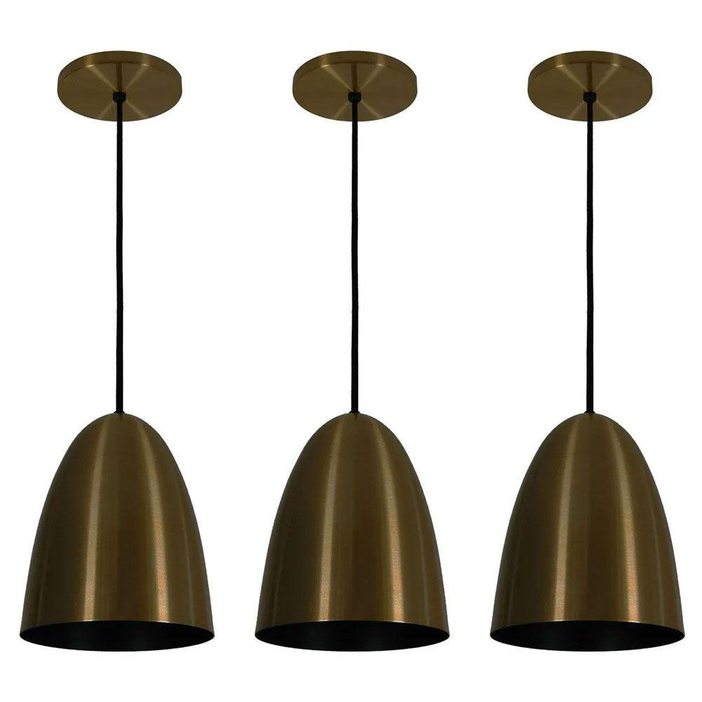 Kit 3 Luminária Pendente Oval 24x18.5cm Aluminium Bronze