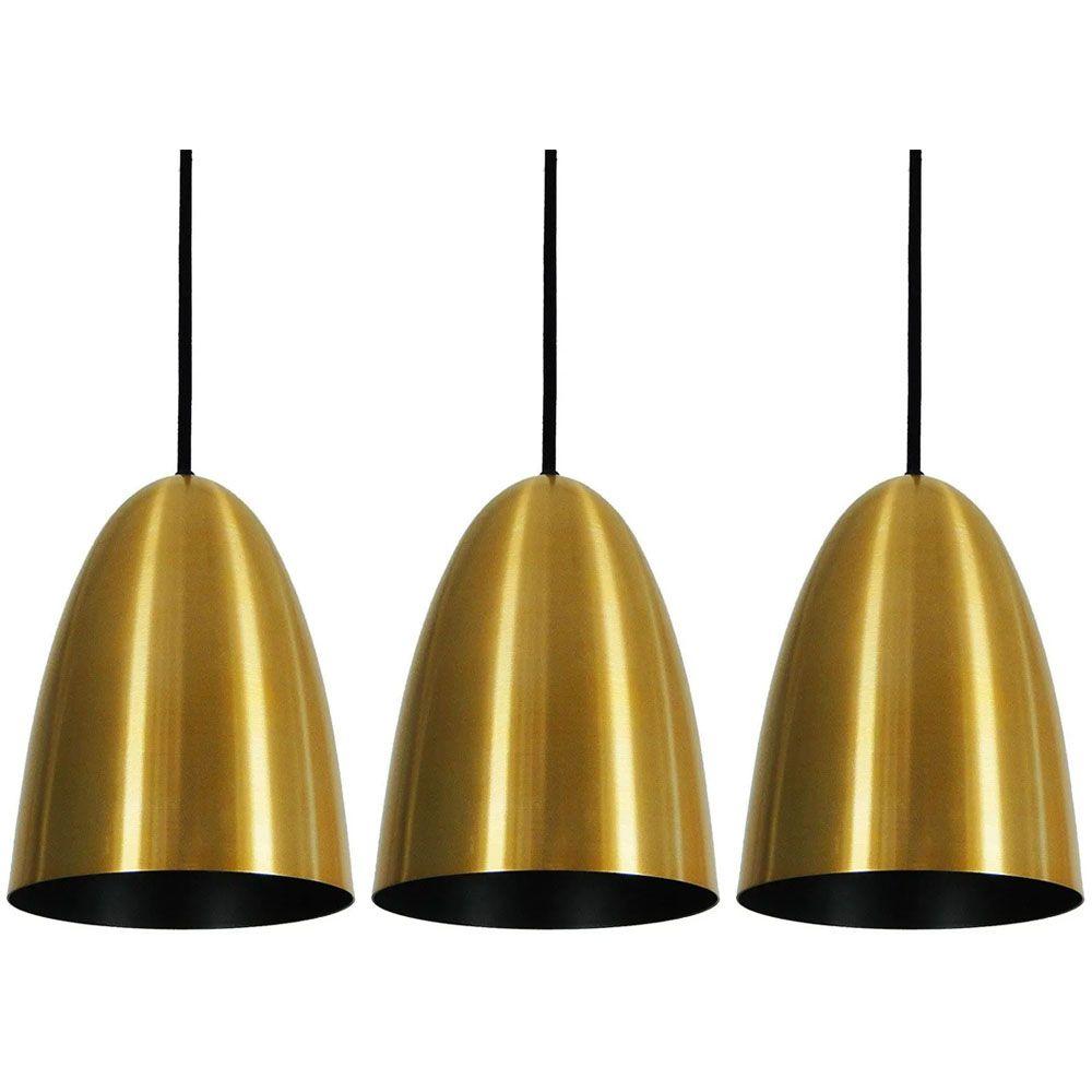 Kit 3 Luminária Pendente Oval 24x18.5cm Aluminium Dourado - TKS
