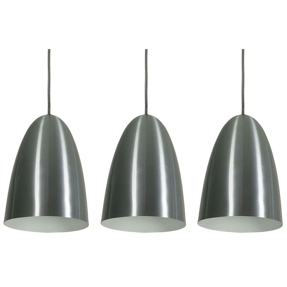 Kit 3 Luminária Pendente Oval 24x18.5cm Aluminium Escovado