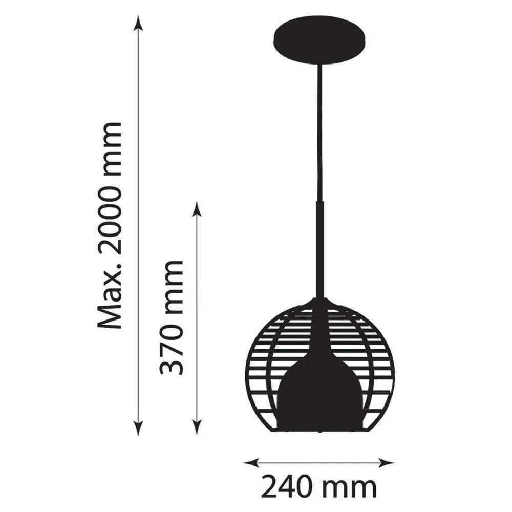 Kit 3 Luminária Pendente Taça 37x24cm Aramado Preto - TKS