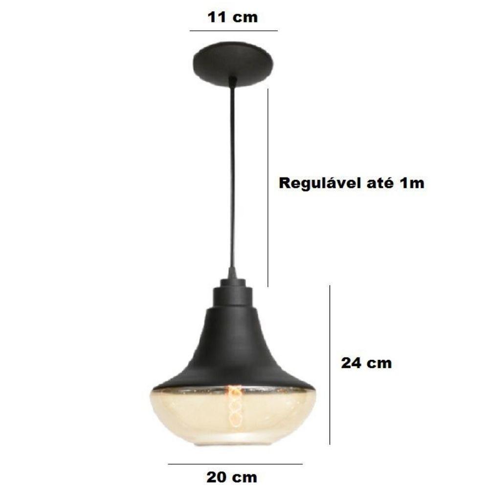 Kit 3 Luminária Pendente Vidro Âmbar 24cm x 20cm E27 Turim