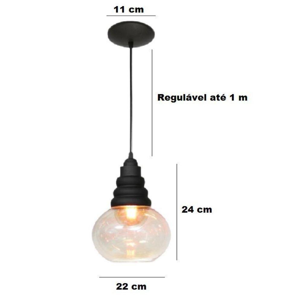 Kit 3 Luminária Pendente Vidro Âmbar 24cm x 22cm E27 Modena