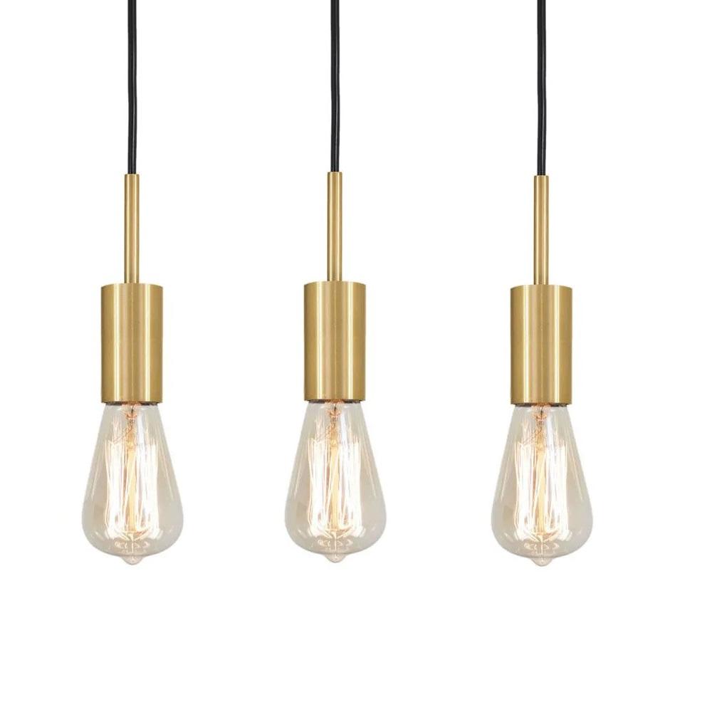 Kit 3 Pendente Infinite Dourado + Lâmpadas LED 4w ST64 Quente Bivolt