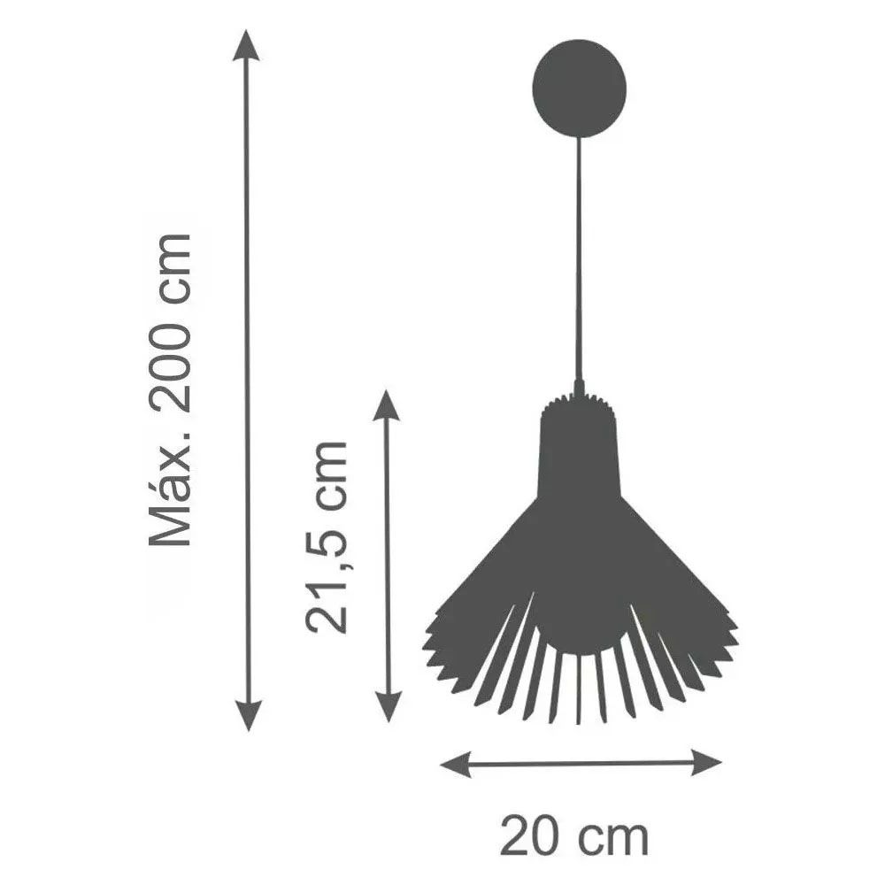 Kit 3 Pendente Madeira Cone 21x20cm Natural