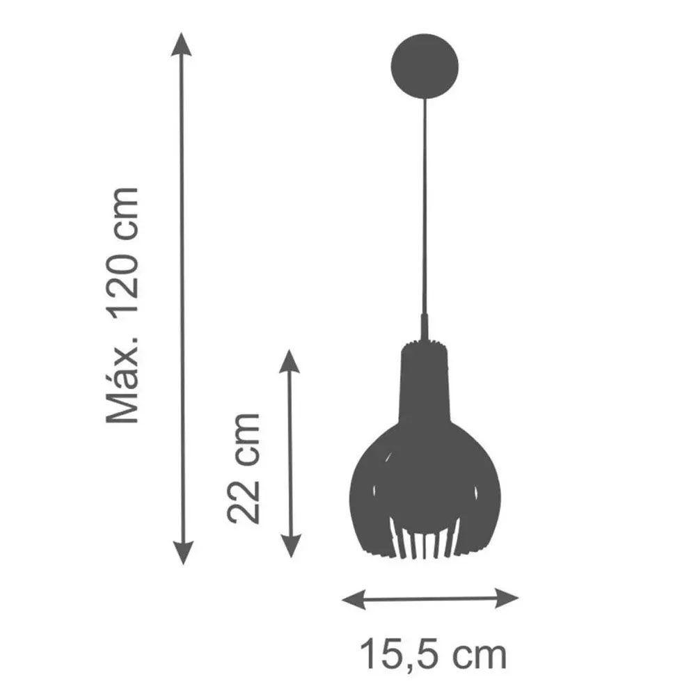Kit 3 Pendente Madeira Gota M 22x15.5cm Natural