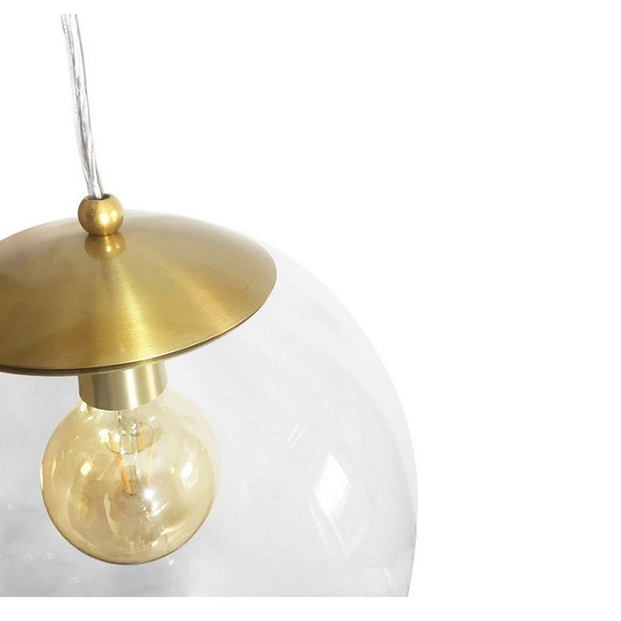 Kit 3 Pendente Redondo Esfera 20cm Dourado e Vidro Cristal Madelustre