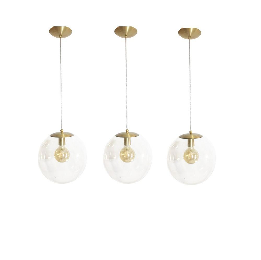 Kit 3 Pendente Redondo Esfera 30cm Dourado e Vidro Cristal Madelustre