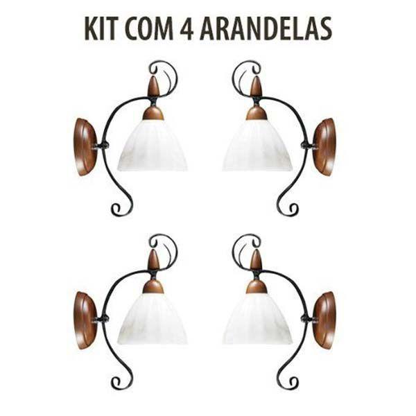 Kit 4 Arandela Vintage Rústica Vulcano Madeira Madelustre