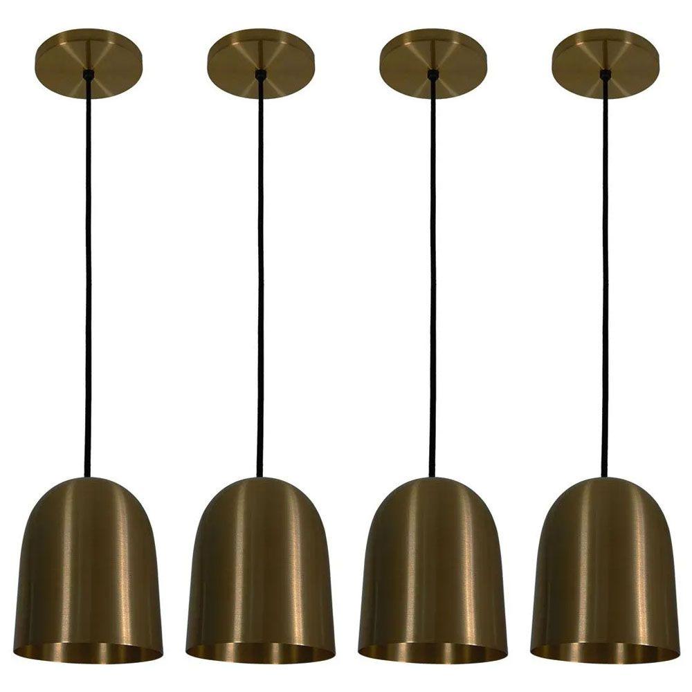 Kit 4 Luminária Pendente 16x14cm Aluminium Bronze - TKS