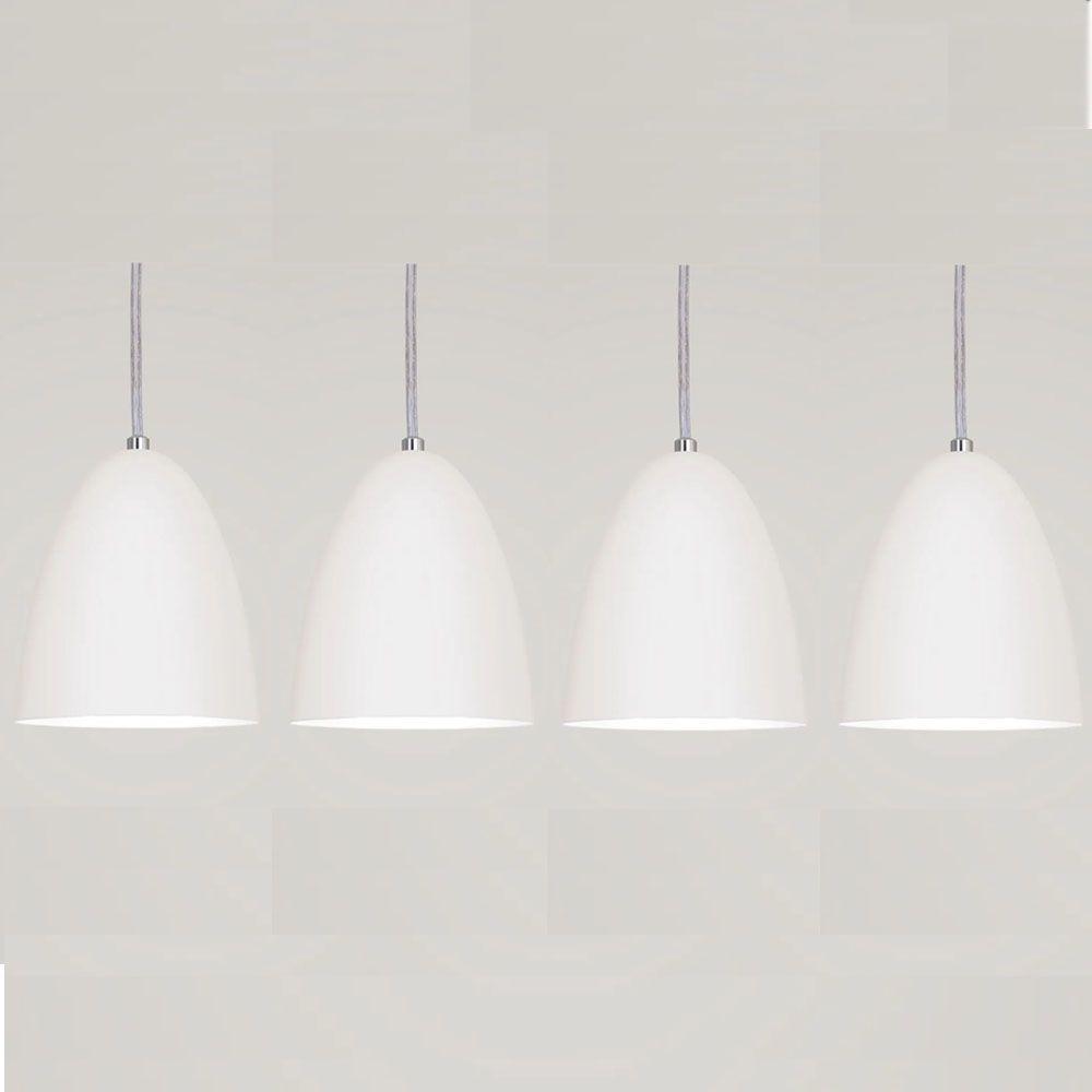 Kit 4 Luminária Pendente Bala 16x13cm Branco Texturizado - TKS