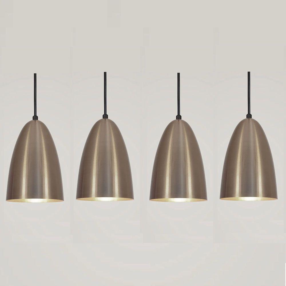 Kit 4 Luminária Pendente Bala 16x13cm Bronze