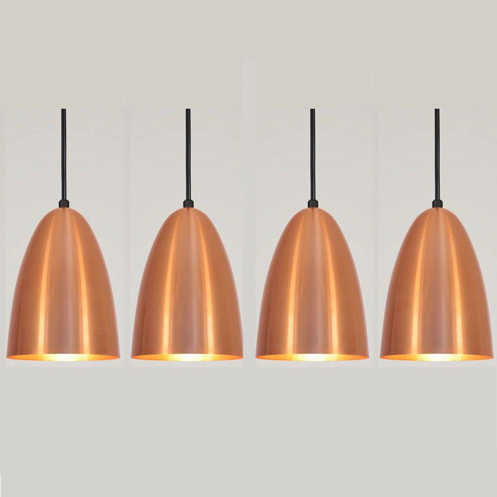 Kit 4 Luminária Pendente Bala 16x13cm Cobre - TKS