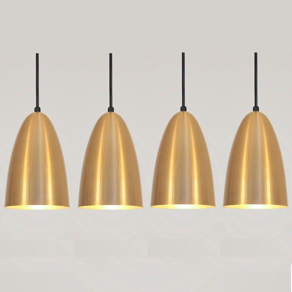 Kit 4 Luminária Pendente Bala 16x13cm Dourado - TKS