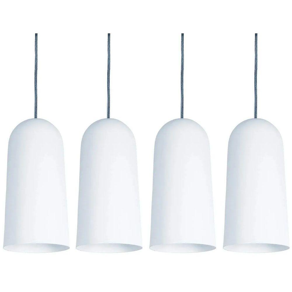 Kit 4 Luminária Pendente Cilíndrico 33x15cm Aluminium Branco