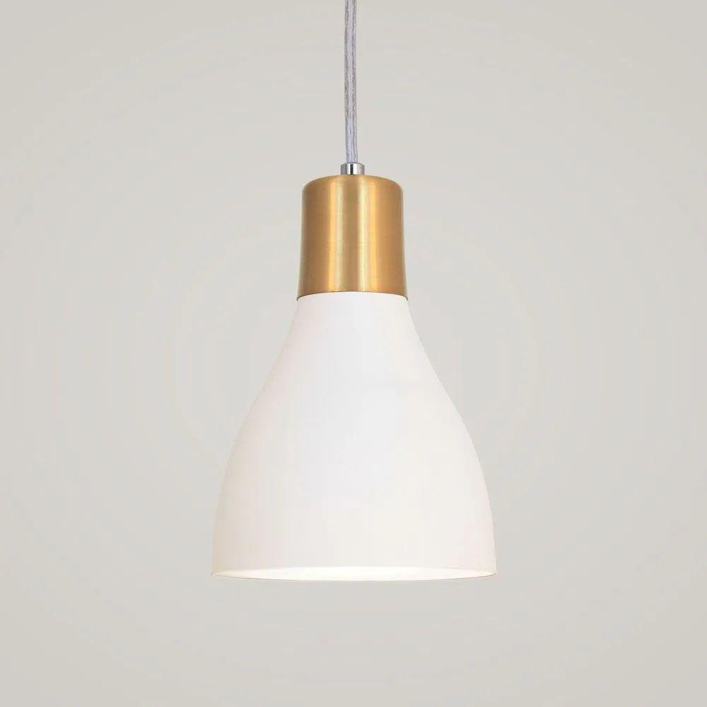 Kit 4 Luminária Pendente Garrafa 20x13.5cm Branco e Dourado