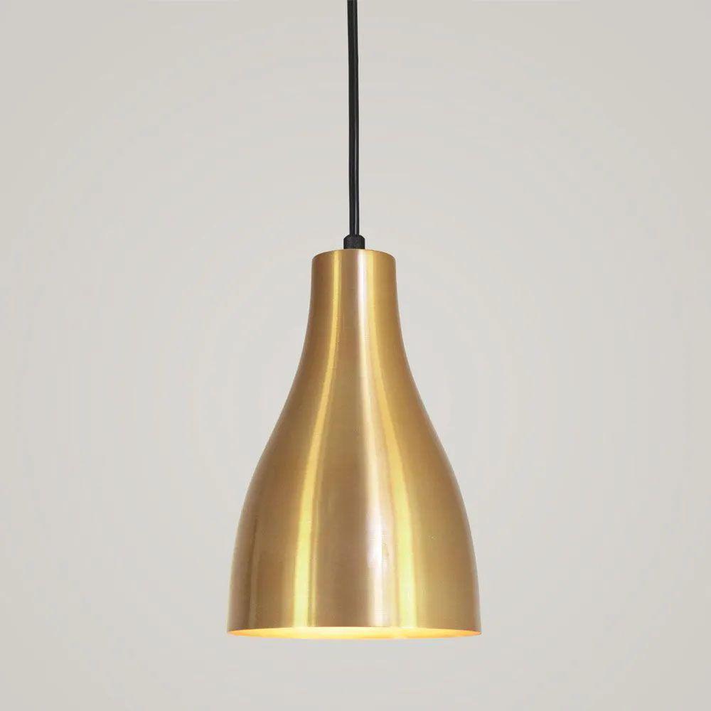 Kit 4 Luminária Pendente Garrafa 20x13.5cm Dourado - TKS