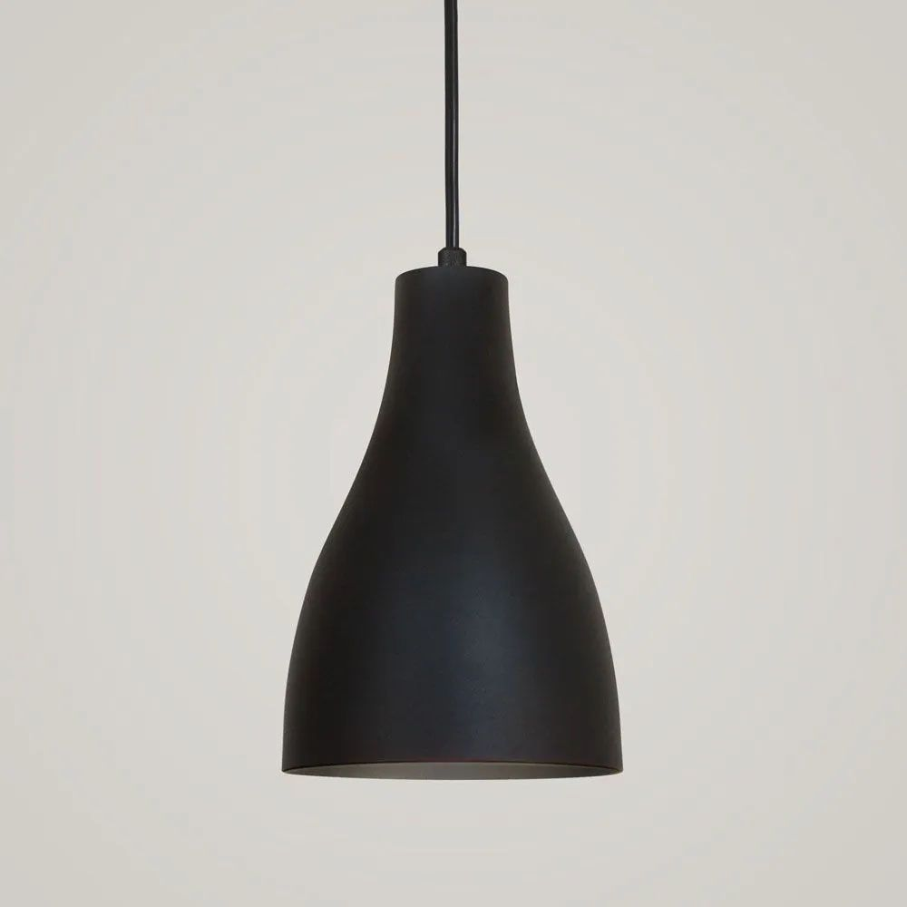 Kit 4 Luminária Pendente Garrafa 20x13.5cm Preto Texturizado - TKS