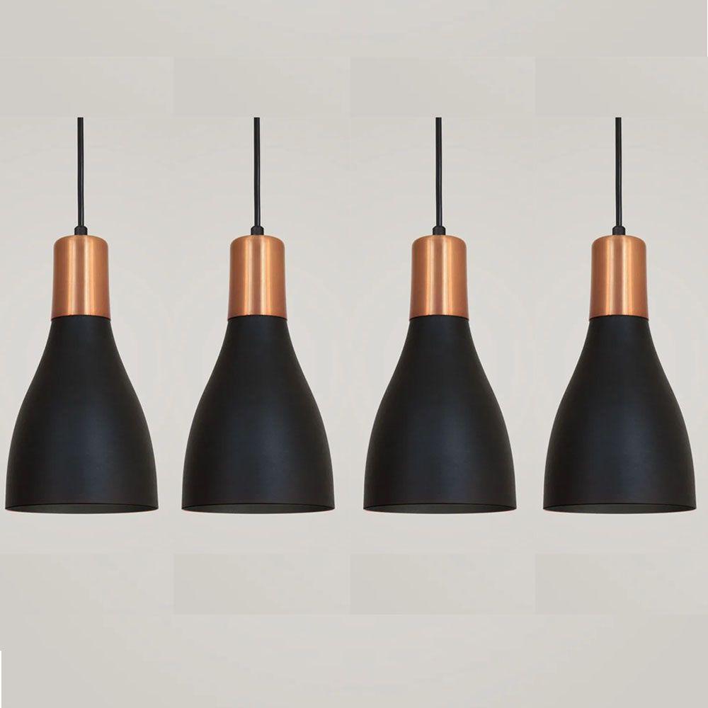 Kit 4 Luminária Pendente Garrafa 20x13.5cm Preto com Cobre