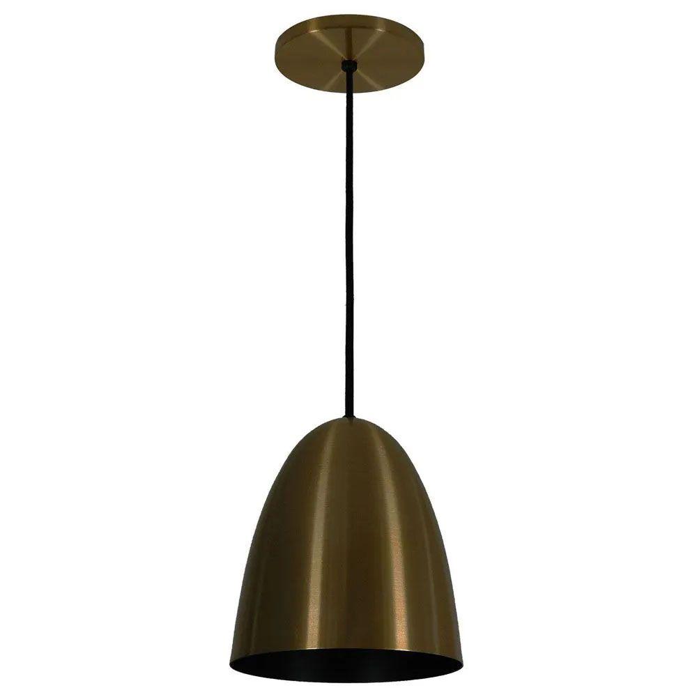 Kit 4 Luminária Pendente Oval 24x18.5cm Aluminium Bronze - TKS