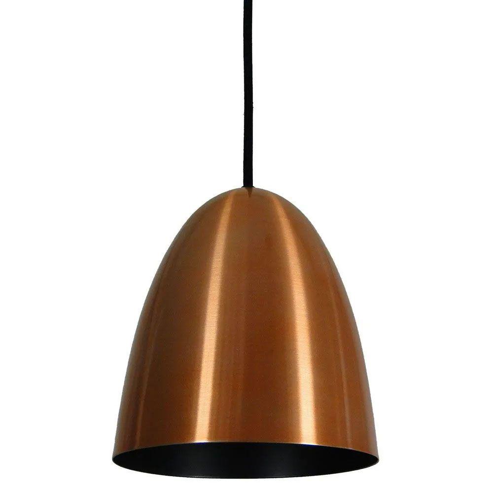 Kit 4 Luminária Pendente Oval 24x18.5cm Aluminium Cobre - TKS