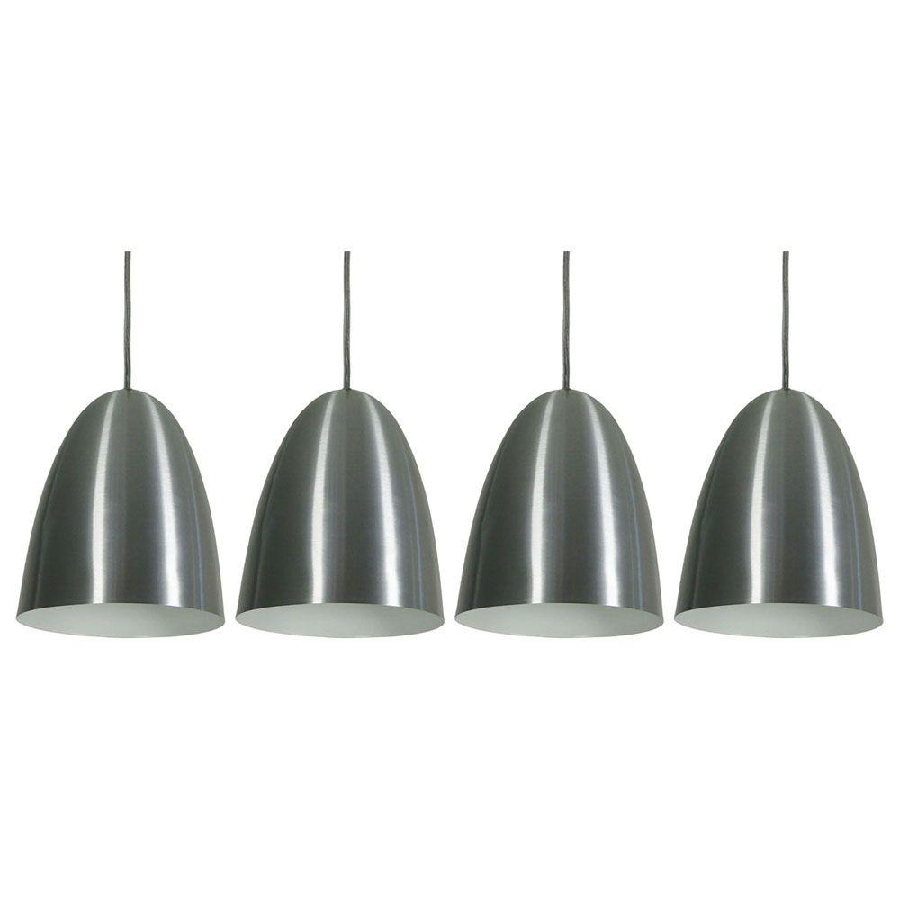 Kit 4 Luminária Pendente Oval 24x18.5cm Aluminium Escovado