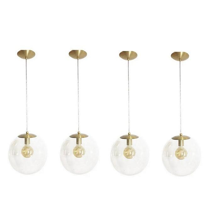 Kit 4 Pendente Redondo Esfera 20cm Dourado e Vidro Cristal Madelustre