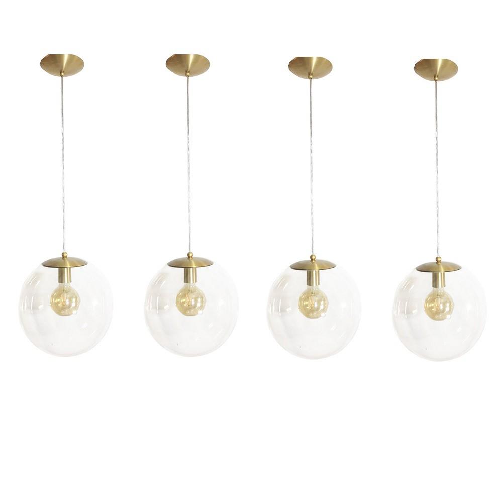 Kit 4 Pendente Redondo Esfera 30cm Dourado e Vidro Cristal Madelustre