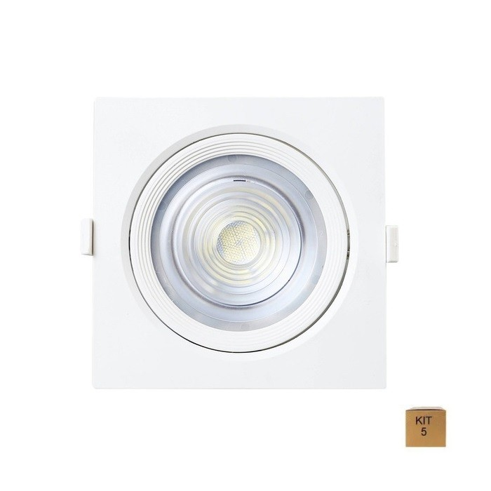 Kit 5 Spot Led Embutir 10w Par30 Quadrado 3000k Branco Quente Bivolt Taschibra