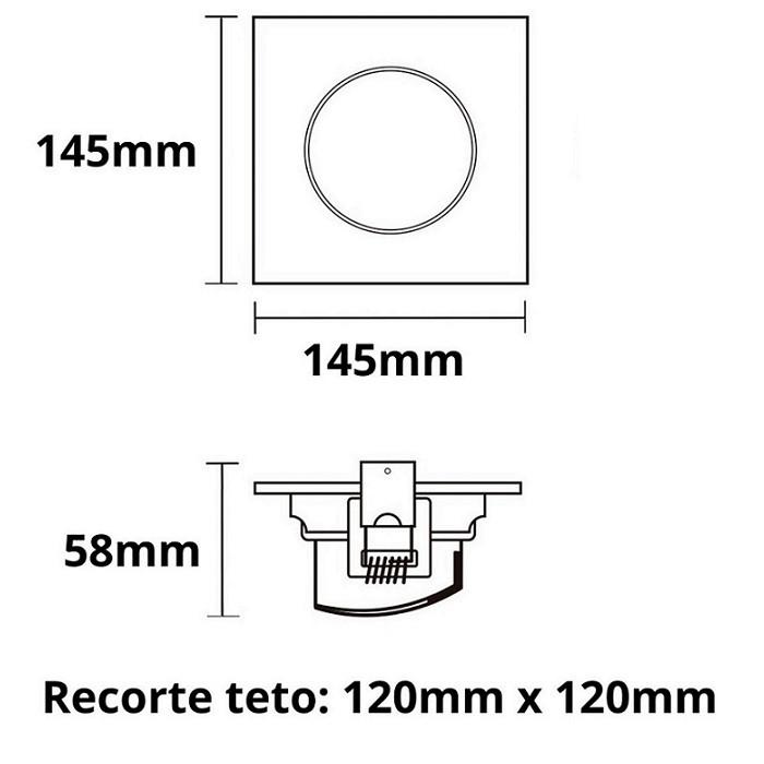 Kit 5 Spot Led Embutir 10w Par30 Quadrado 6500k Branco Frio Bivolt Taschibra