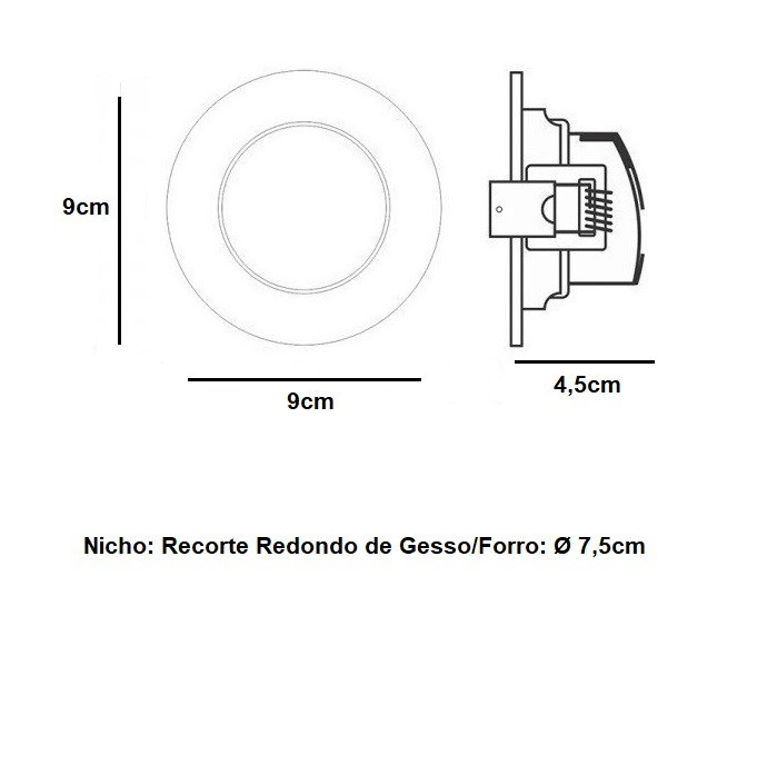 Kit 5 Spot Led Embutir 5w Redondo 6500k Branco Frio Bivolt Taschibra