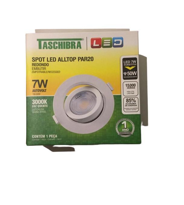 Kit 5 Spot Led Embutir 7w Par20 Redondo 3000k Branco Quente Bivolt Taschibra