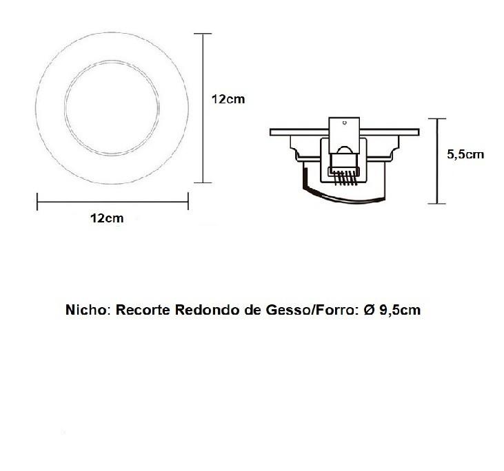 Kit 5 Spot Led Embutir 7w Par20 Redondo 6500k Branco Frio Bivolt Taschibra