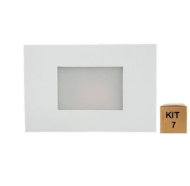 Kit 7 Balizador de Embutir Escada Parede 4x2 Alumínio Branco