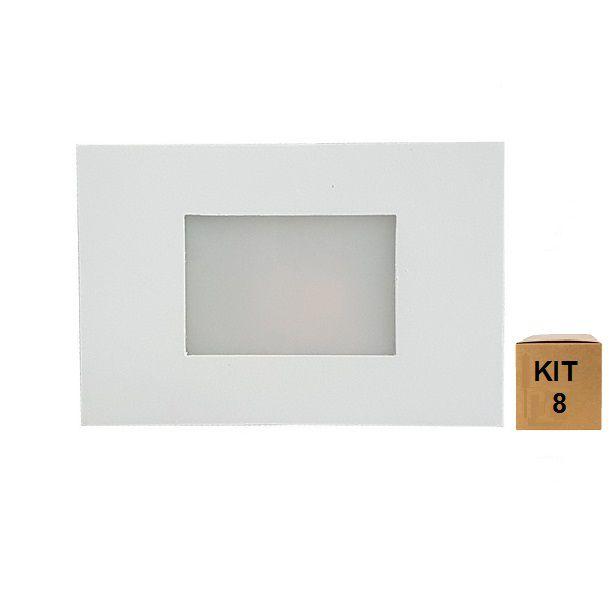 Kit 8 Balizador de Embutir Escada Parede 4x2 Alumínio Branco