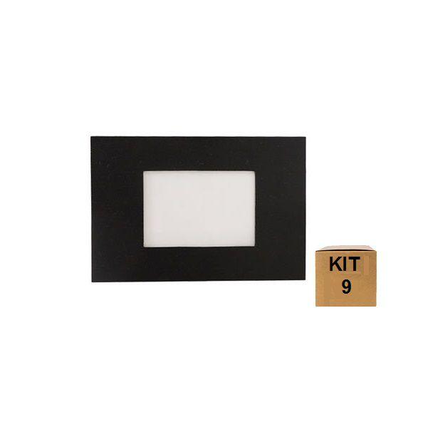 Kit 9 Balizador de Embutir Escada Parede 4x2 Alumínio Preto RL