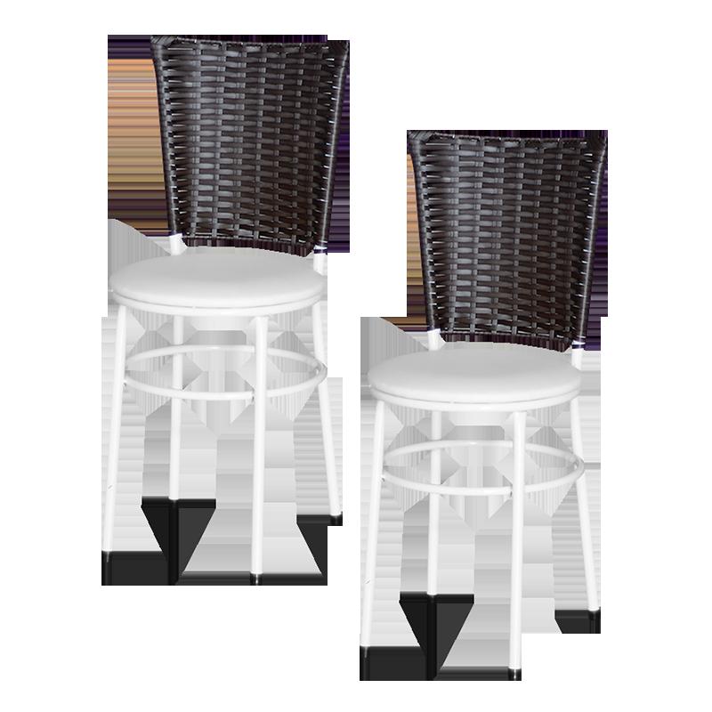 Jogo 2 Cadeiras Para Cozinha Branca Hawai Café