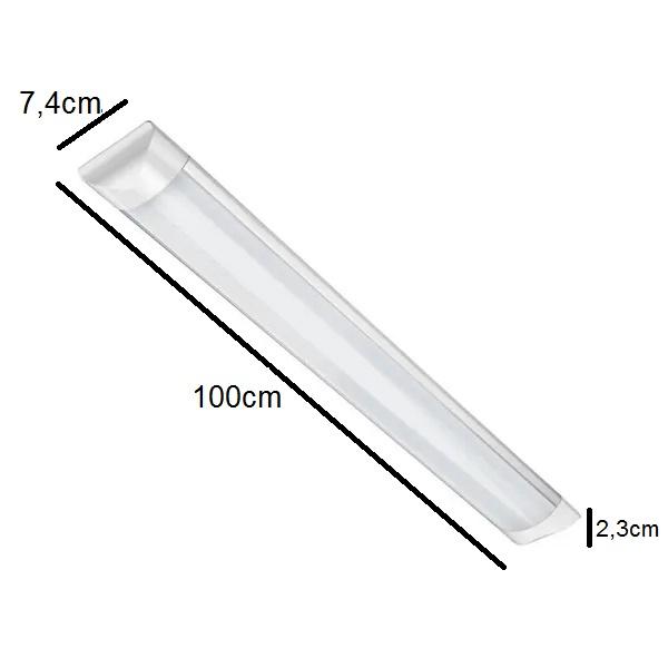 Luminária Tubular Led 36w Sobrepor Slim 100cm Branco Frio