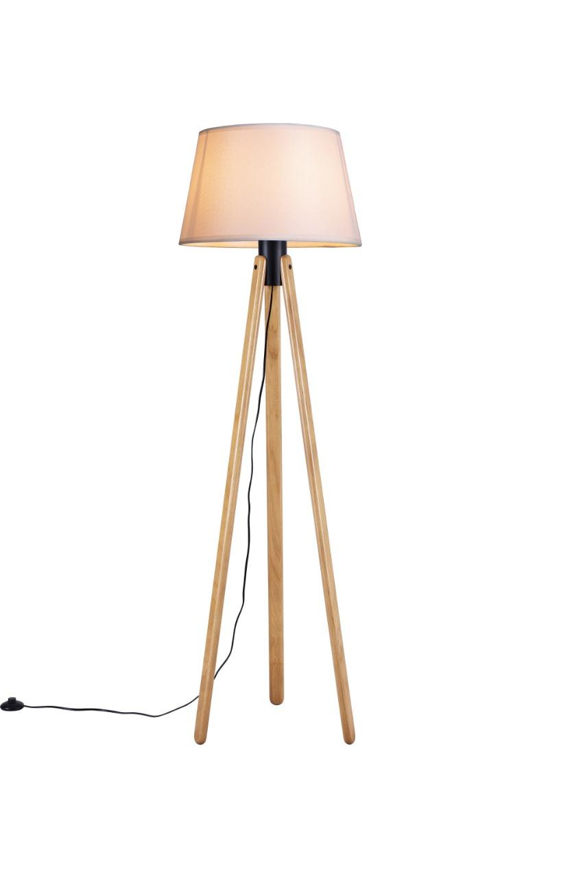 Luminária de Chão Tripé 178cm Madeira Castanho Cúpula Algodão Cru Madelustre