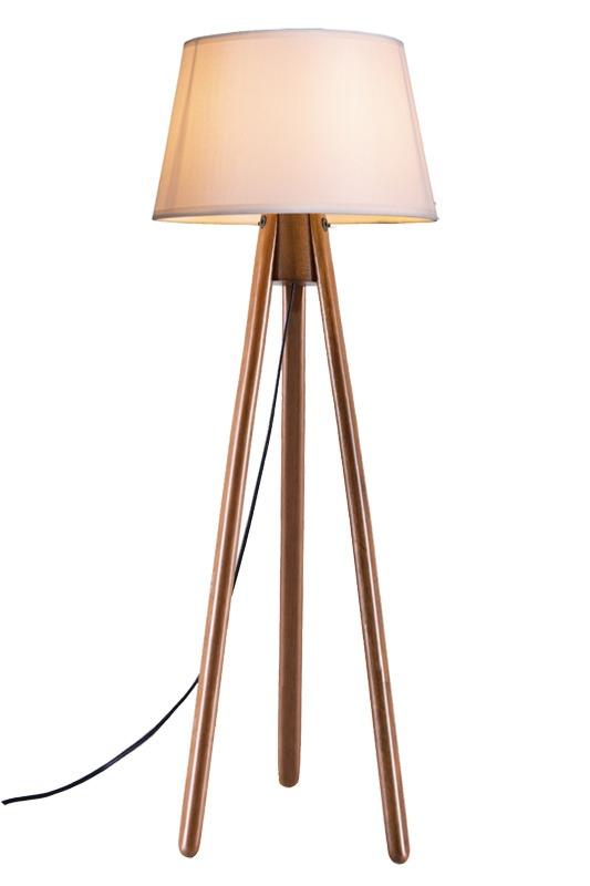 Luminária de Chão Tripé 178cm Madeira Imbuia Cúpula Algodão Cru Madelustre